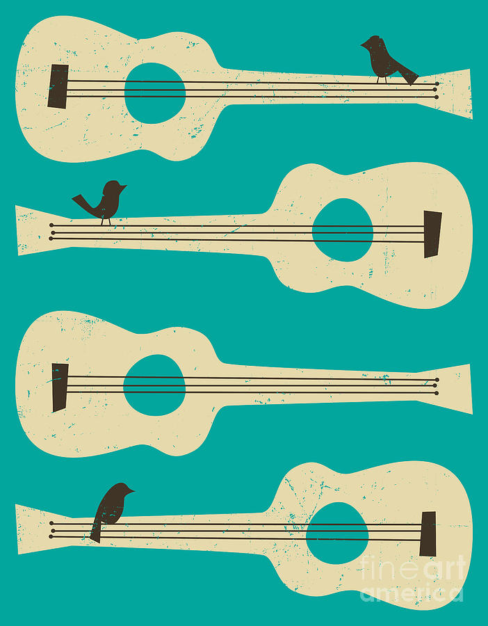 Birds On Guitar Strings Digital Art  - Birds On Guitar Strings Fine Art Print