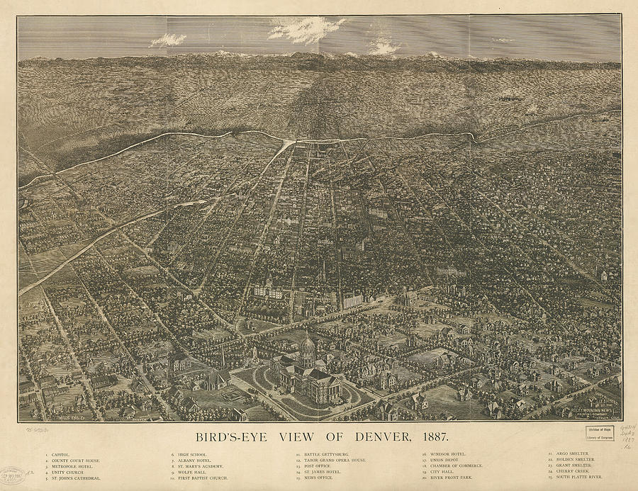 Birdseye Map Of Denver Colorado Drawing  - Birdseye Map Of Denver Colorado Fine Art Print