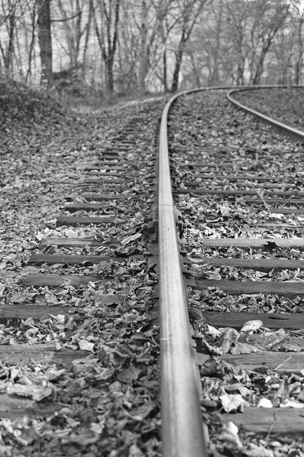 Black And White Train Tracks Photograph by Jamie Hein