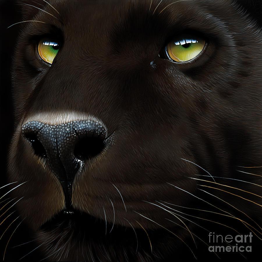 Black Leopard Painting By Jurek Zamoyski
