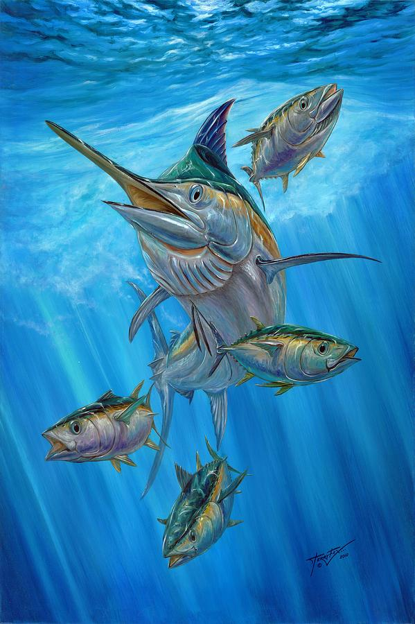 Black Marlin And Albacore Painting  - Black Marlin And Albacore Fine Art Print