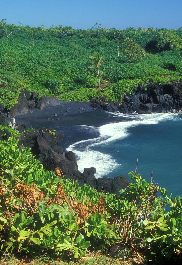 Black Sand Beach Hana Maui Hawaii Photograph By John Burk