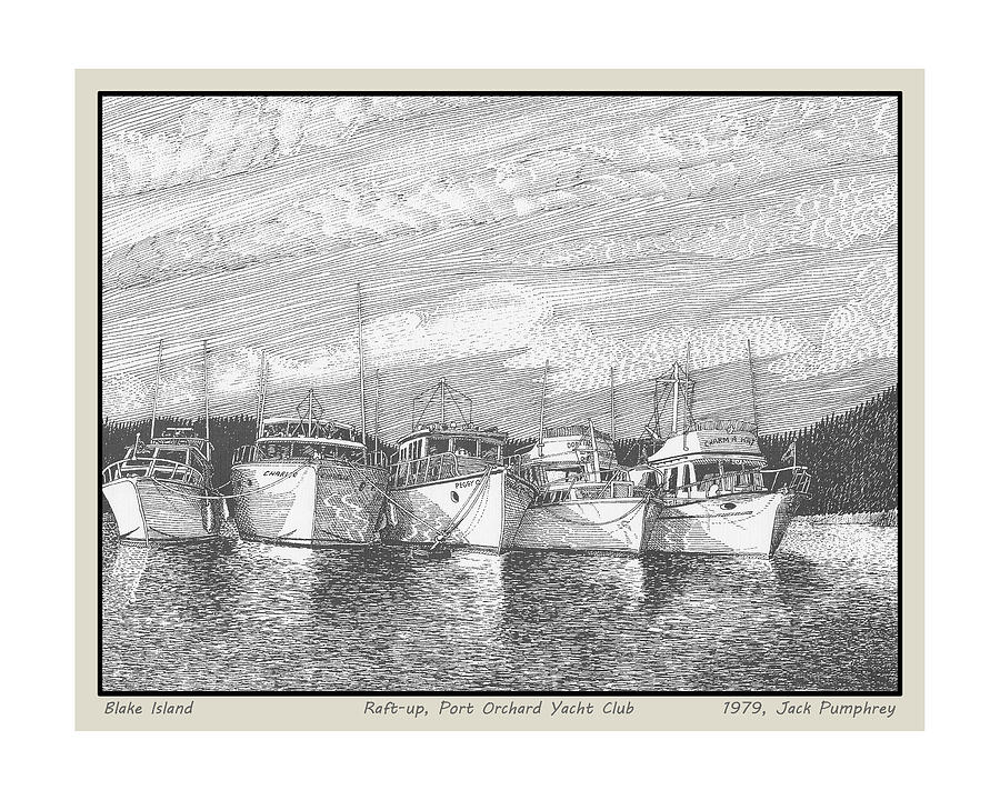 Blake Island Raft Up Drawing  - Blake Island Raft Up Fine Art Print