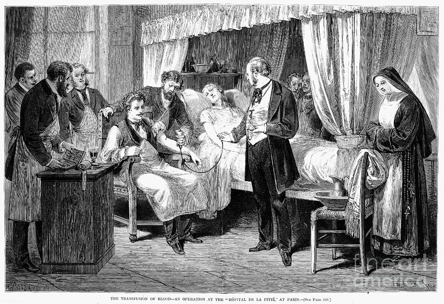 Blood Transfusion, 1874 Photograph