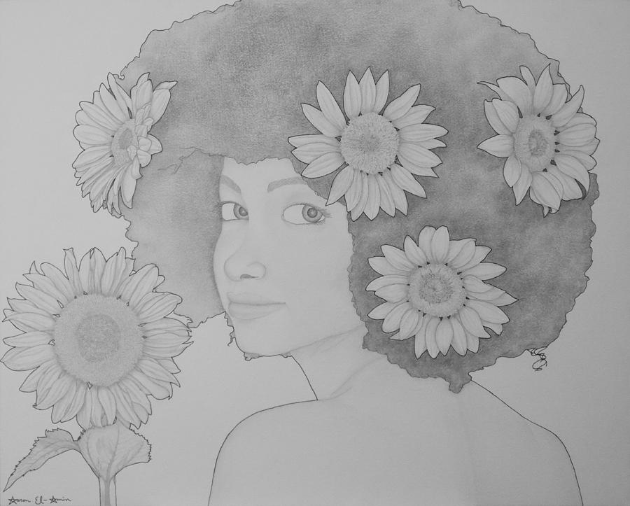Blooming Girl Sunflower  Drawing  - Blooming Girl Sunflower  Fine Art Print