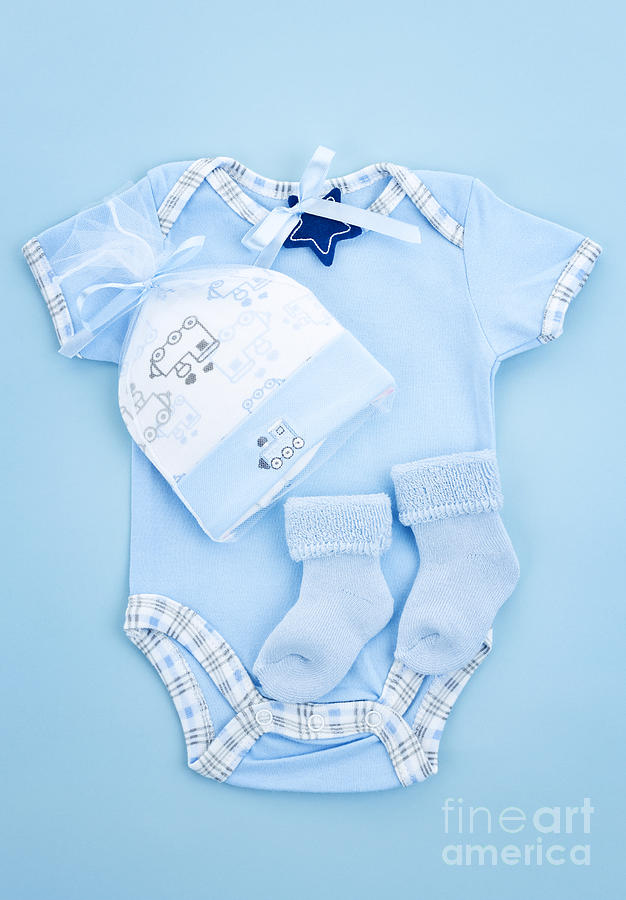 Blue Baby Clothes For Infant Boy Photograph