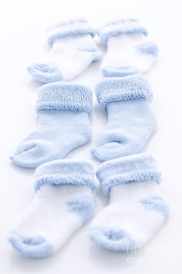 Socks Photograph - Blue Baby Socks by Elena Elisseeva