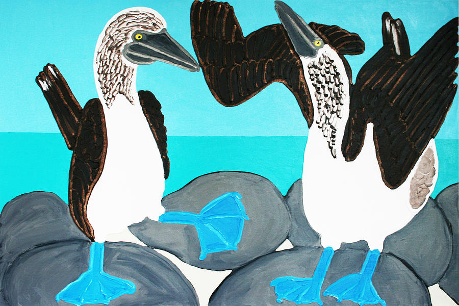 Blue Footed Boobies. Painting  - Blue Footed Boobies. Fine Art Print