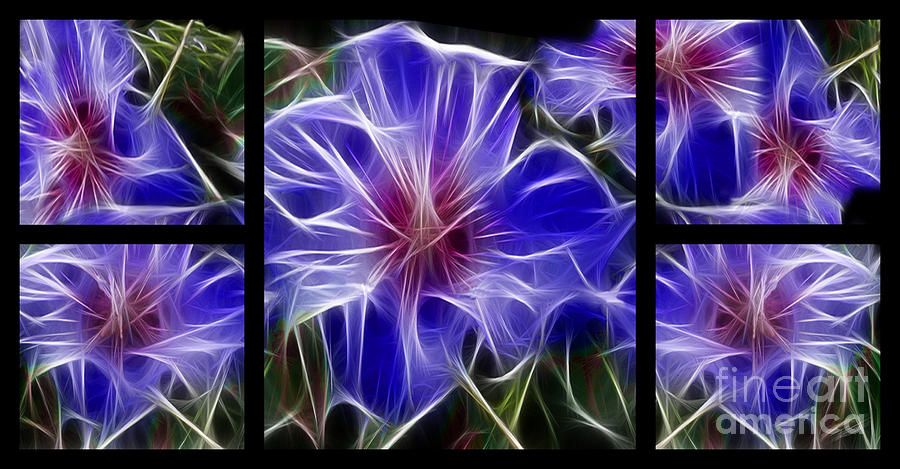 Blue Hibiscus Fractal Digital Art
