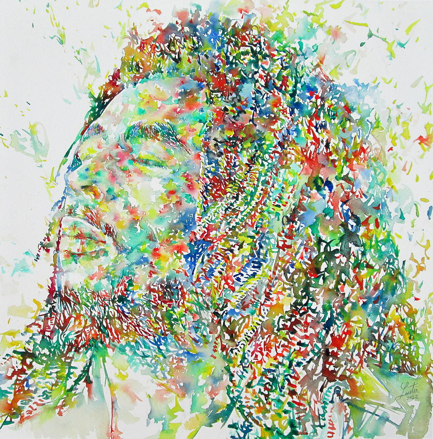 Bob Marley Watercolor Portrait.1 Painting  - Bob Marley Watercolor Portrait.1 Fine Art Print