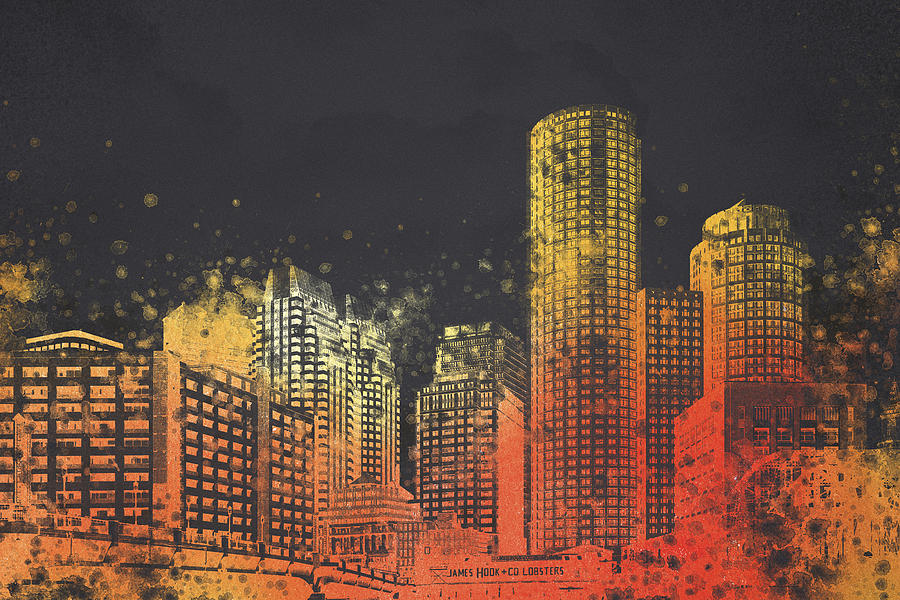 Boston City Skyline Digital Art - Boston City Skyline by Aged Pixel