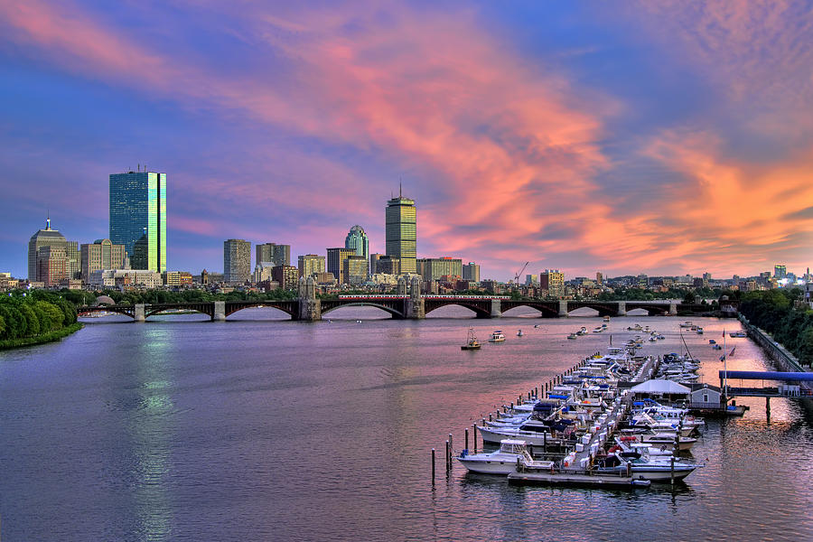Boston Skyline Sunset Photograph  - Boston Skyline Sunset Fine Art Print