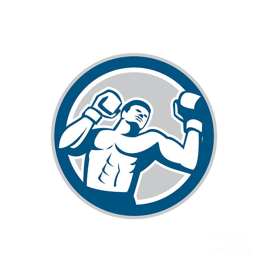 Boxer Digital Art - Boxer Boxing Boxing Circle Retro by Aloysius Patrimonio