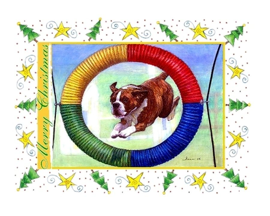 Boxer Dog Christmas Drawing  - Boxer Dog Christmas Fine Art Print