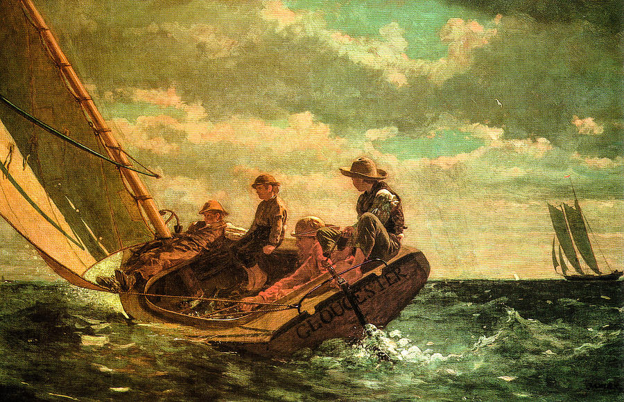 Prints Of Sailboats For Sale Digital Art - Breezing Up by Winslow Homer