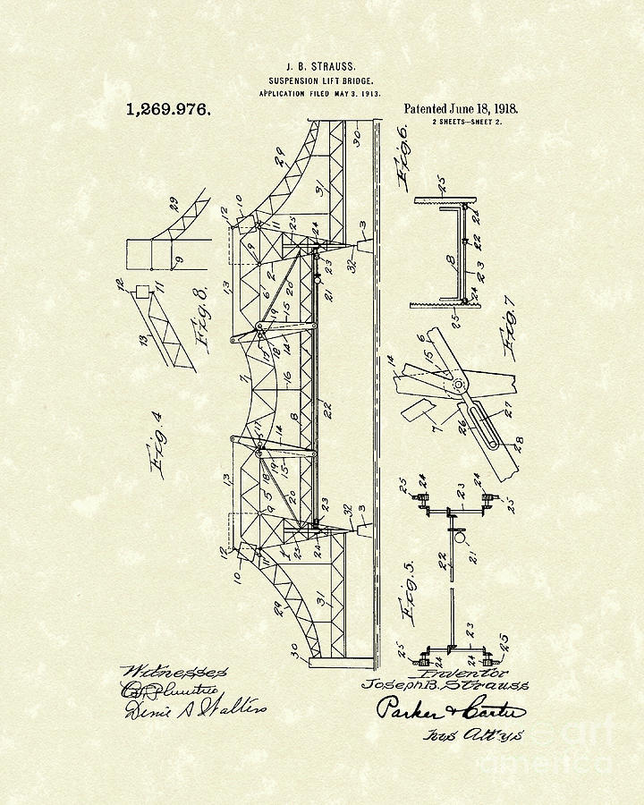 Bridge 1918 Patent Art Drawing