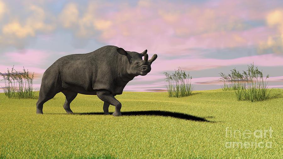 Brontotherium Grazing In Prehistoric Digital Art