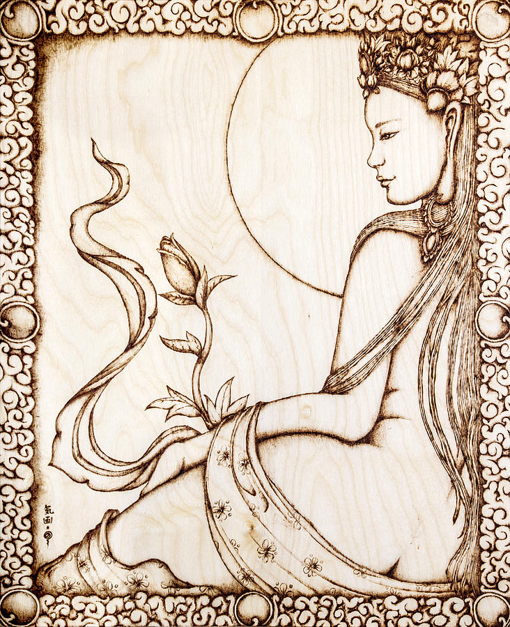 Budding Beauty Pyrography  - Budding Beauty Fine Art Print