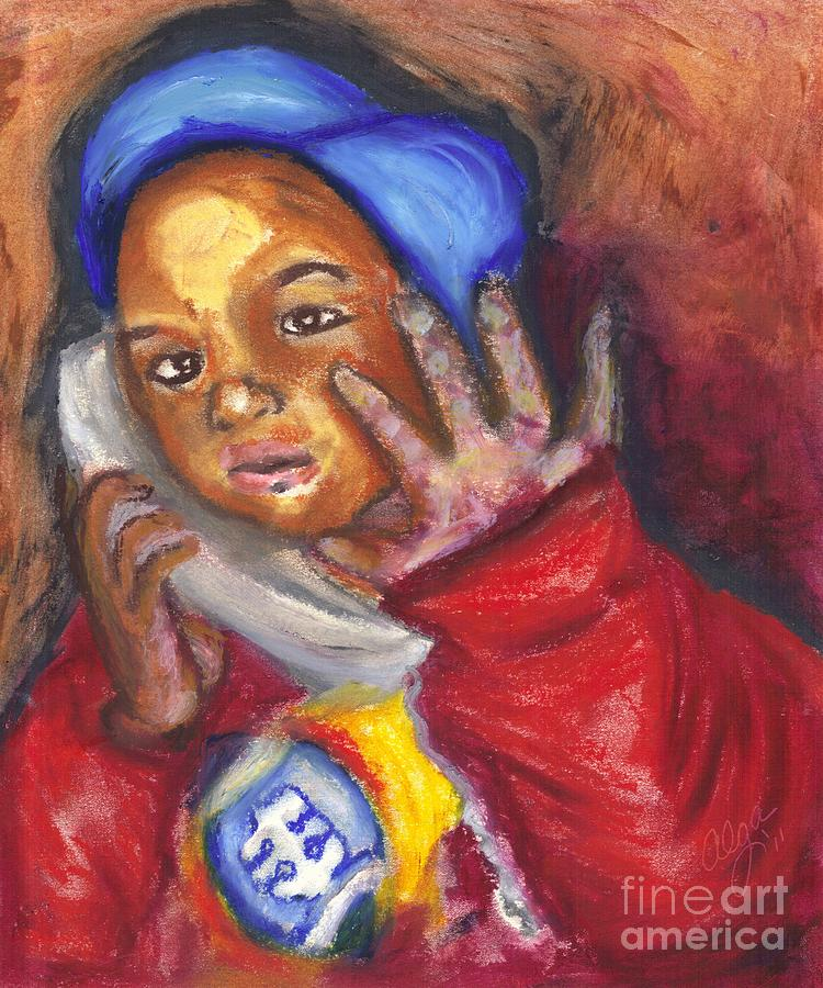 Busy Talkin To Grandma Right Now Pastel  - Busy Talkin To Grandma Right Now Fine Art Print