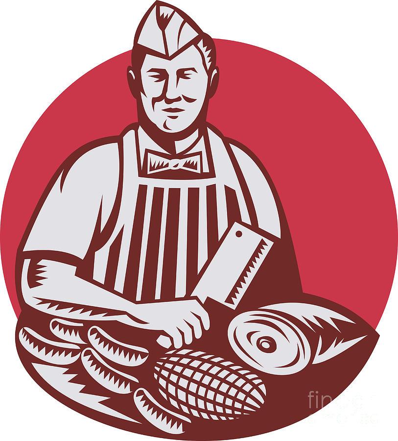 Butcher Cutter Worker Meat Cleaver Knife Retro Digital Art
