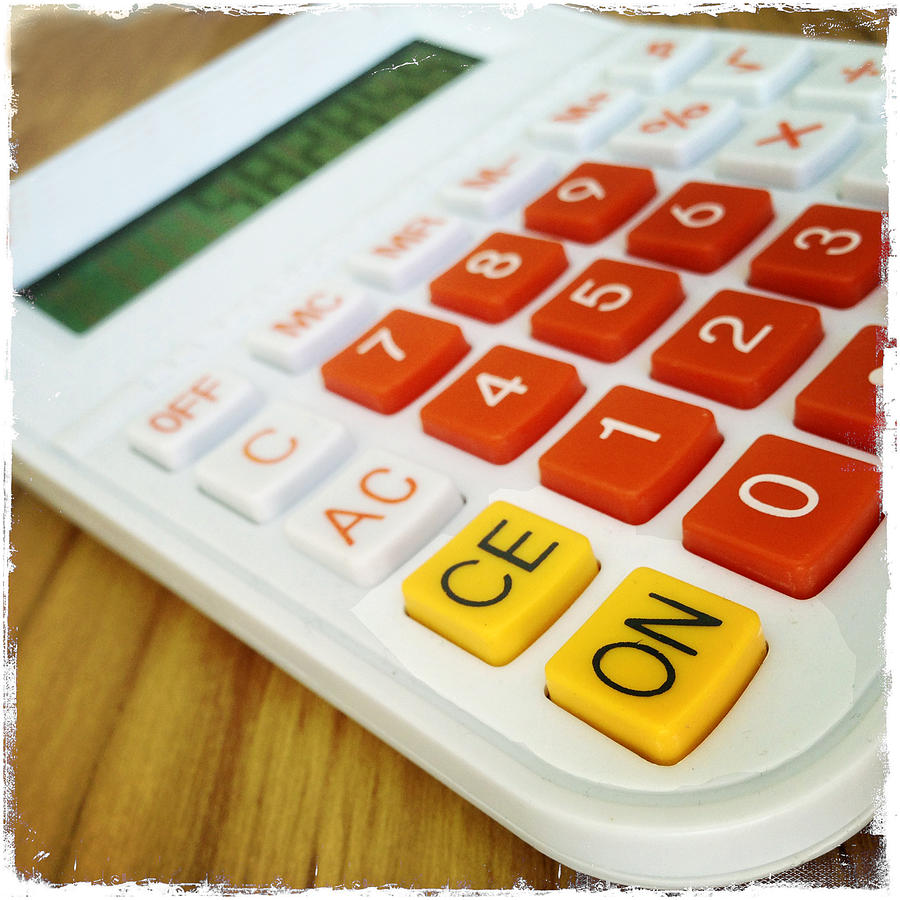 Keys Photograph - Calculator by Les Cunliffe