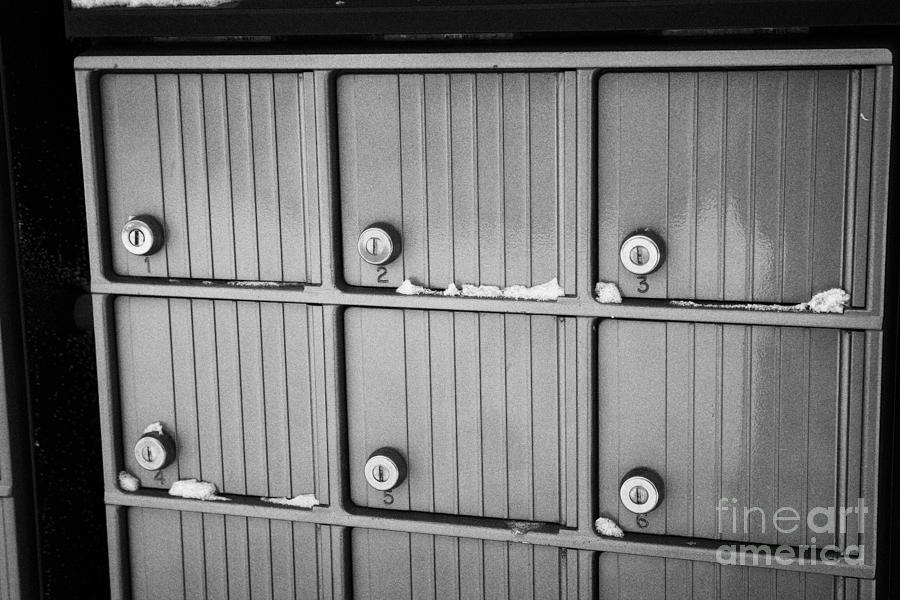 canada post post mailboxes in rural small town Forget Saskatchewan Canada Photograph  - canada post post mailboxes in rural small town Forget Saskatchewan Canada Fine Art Print