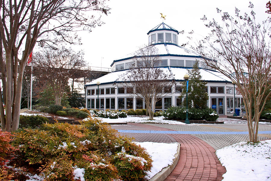Carousel Building In The Snow Photograph