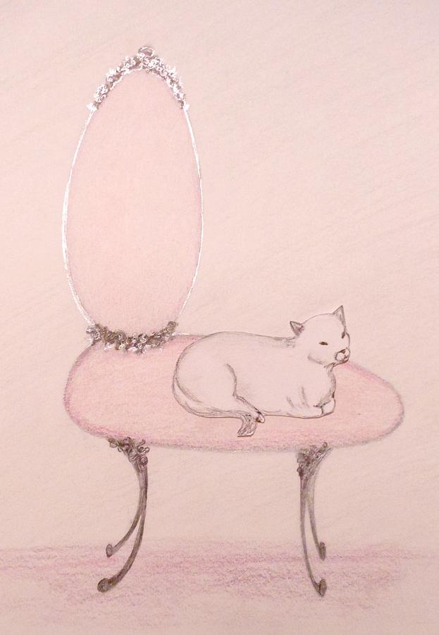 Cats And Animals And Nature Drawing - Cat On A Vanity Chair by Christine Corretti