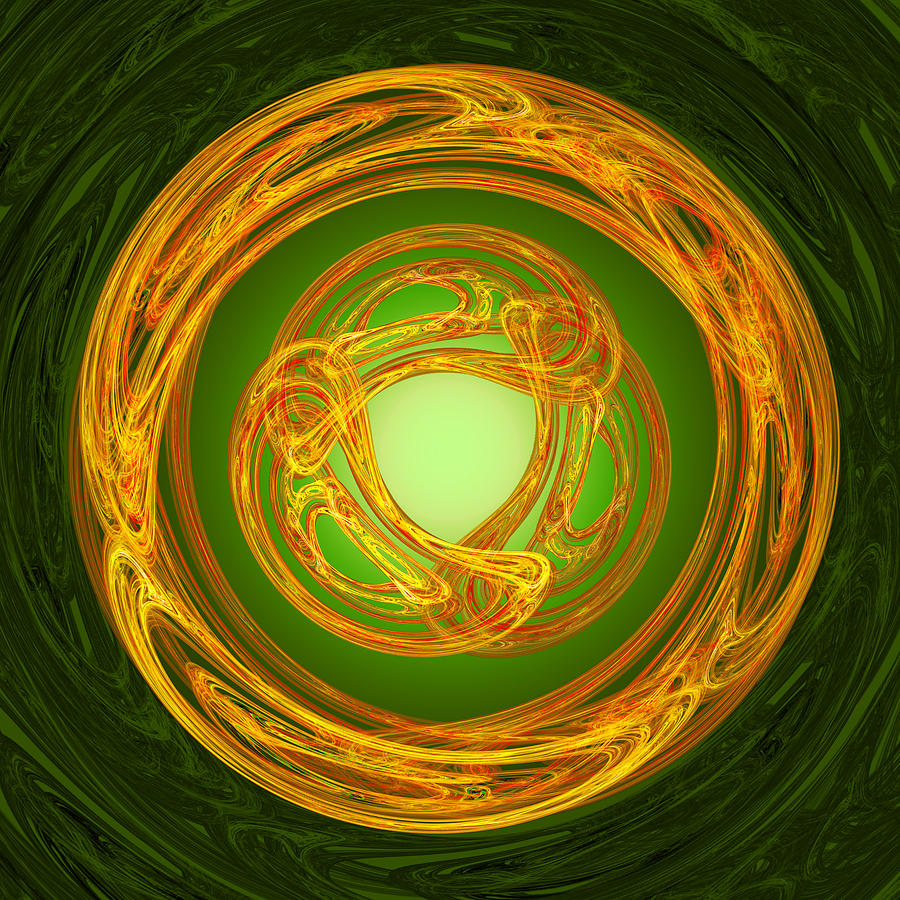 Celtic Abstract Digital Art - Celtic Abstract On Green by Jane McIlroy