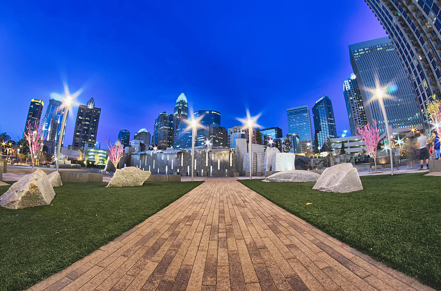 Charlotte Skyline At Romare Bearden Park And Bbt Knights