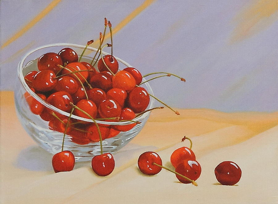 Cherries Bowl Painting  - Cherries Bowl Fine Art Print