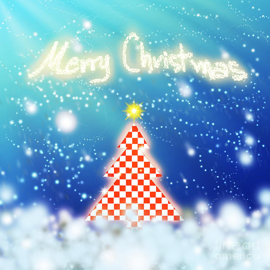 Chess Style Christmas Tree Digital Art  - Chess Style Christmas Tree Fine Art Print
