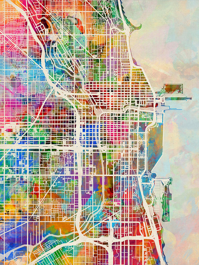 Chicago City Street Map Digital Art By Michael Tompsett