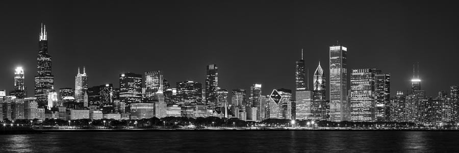Chicago Skyline At Night Black And White Panoramic Photograph