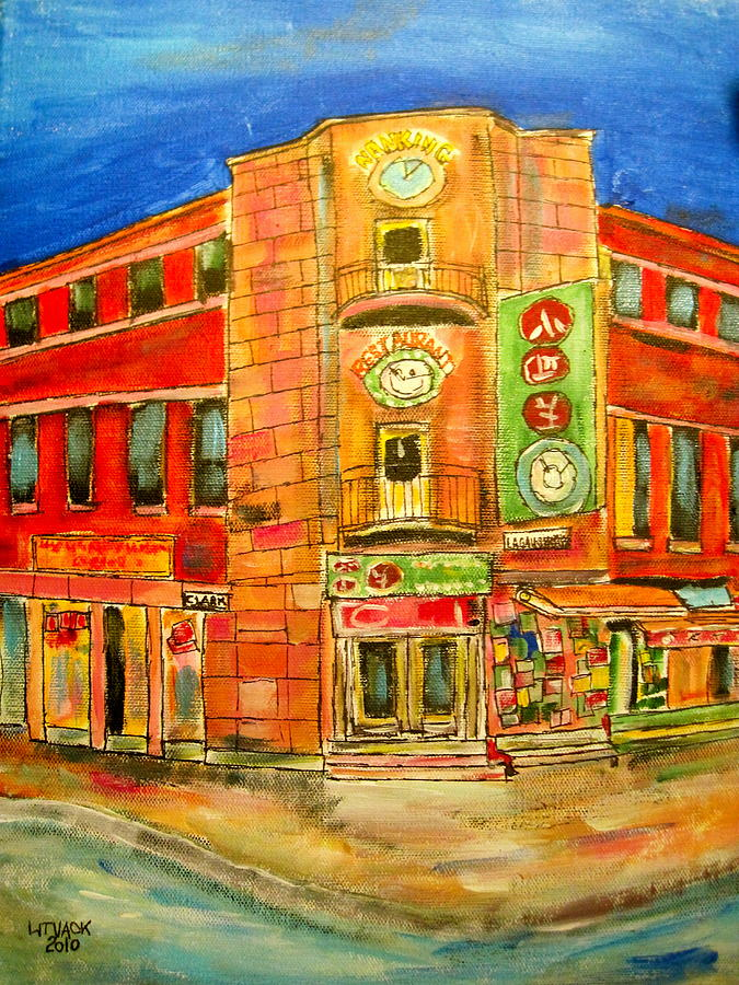 Chinatown Montreal Street Quebec Restaurants Old Chinese Ethnic Litvack Quebec Ethnics Oriental Far East Painting - Chinatown Corners by Michael Litvack