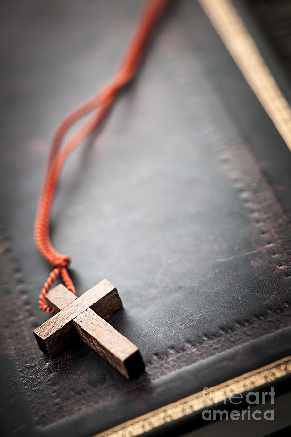 Cross Photograph - Christian Cross On Bible by Elena Elisseeva