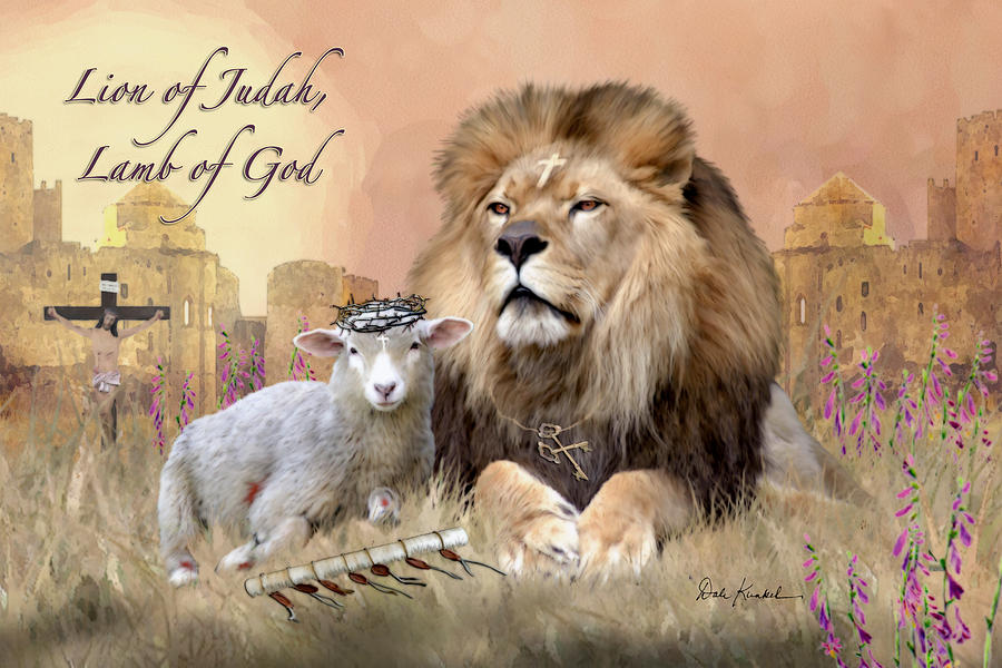 Christian Religious Art of Jesus Paintings - Lion of Judah Lamb of God Painting by Christian Artist Dale Kunkel available as archival prints, framed prints, canvas prints