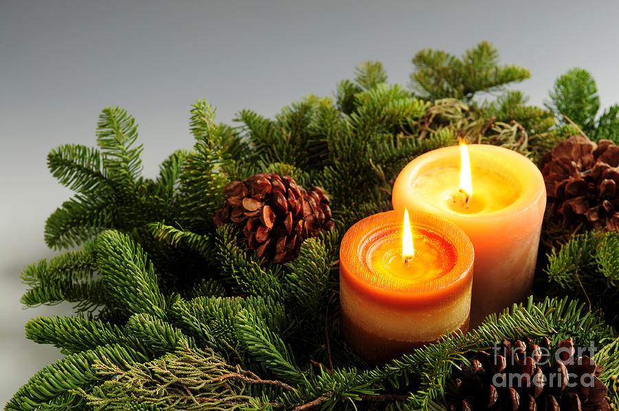 Candle Photograph - Christmas Candles by Elena Elisseeva