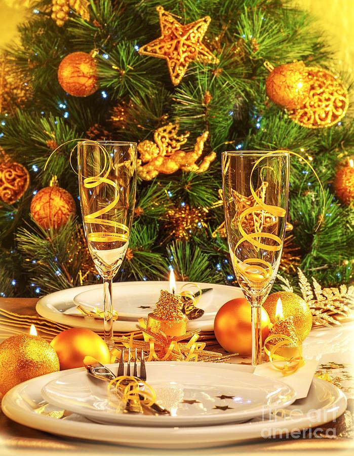 Christmas Dinner In Restaurant Photograph