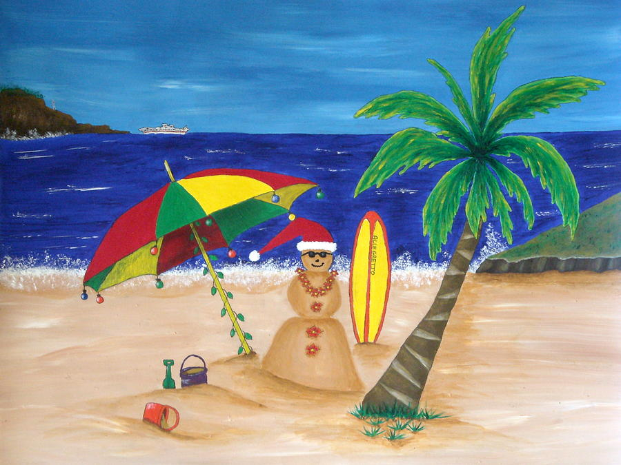 Christmas In Kona Painting  - Christmas In Kona Fine Art Print