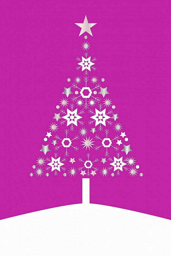 Christmas tree made of snowflakes on pink background digital art by