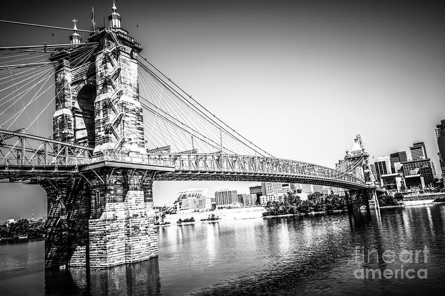 Cincinnati Roebling Bridge Black And White Picture Photograph