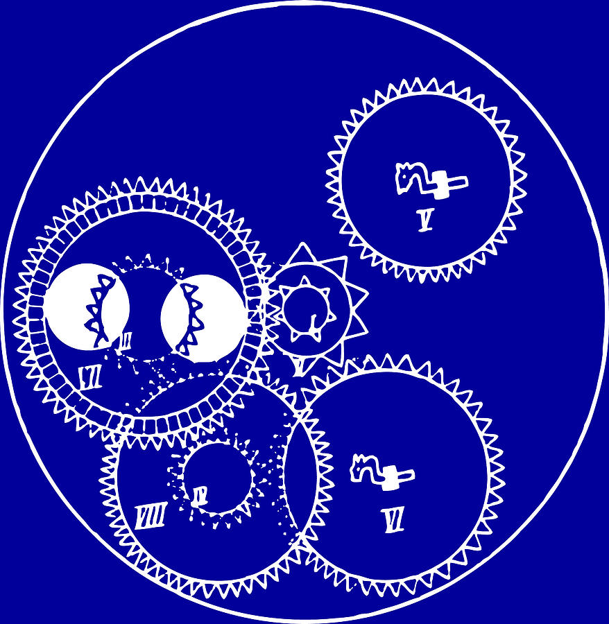 Clock Gears Blueprint Drawing