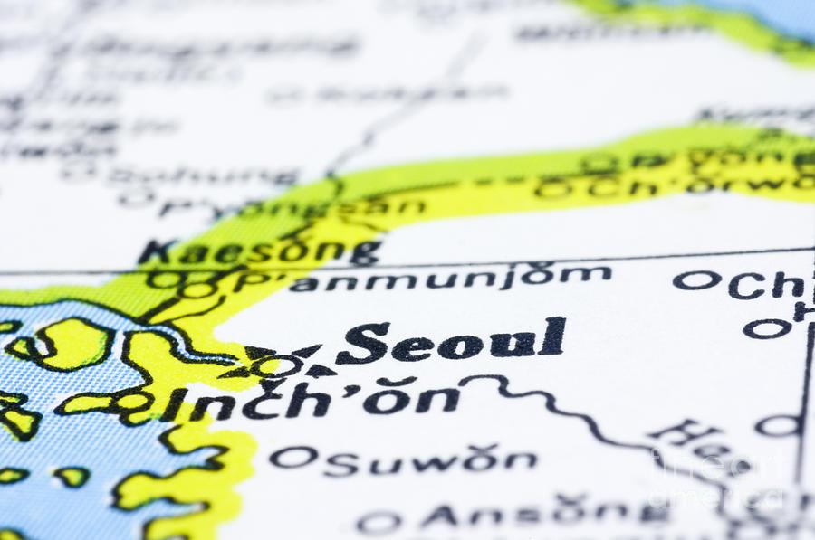 close up of Seoul on map-korea Photograph
