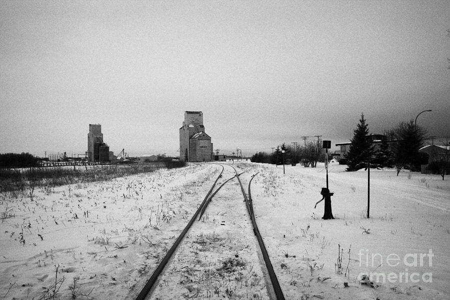 Cn Canadian National Railway Tracks And Grain Silos Kamsack Saskatchewan Canada Photograph  - Cn Canadian National Railway Tracks And Grain Silos Kamsack Saskatchewan Canada Fine Art Print