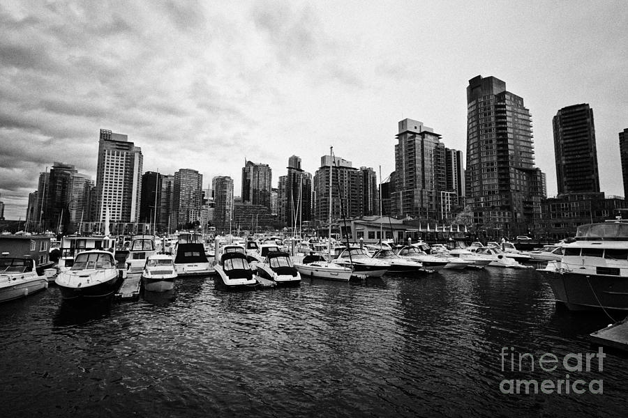 coal harbour marina and high rise apartment condo blocks in the west end Vancouver BC Canada Photograph