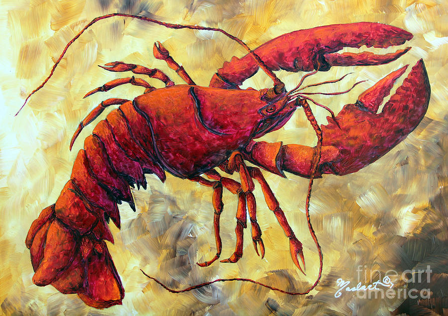 Coastal Lobster Decorative Painting Original Art Coastal Luxe Lobster By Madart Painting