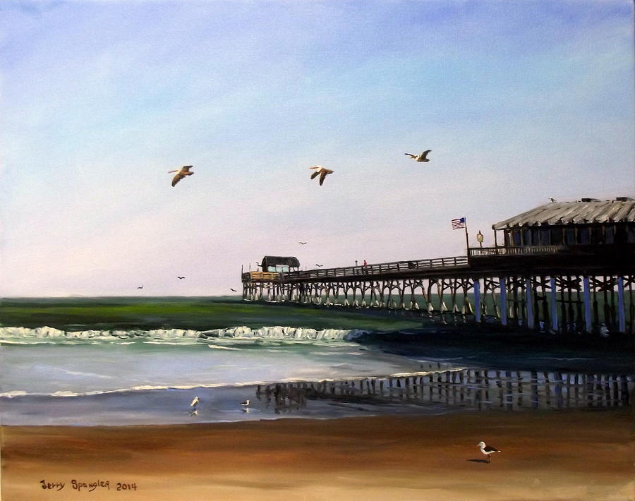 Cocoa beach fishing pier painting by jerry spangler for Cocoa beach fishing pier