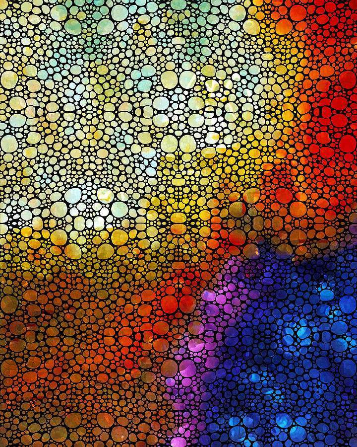 Colorful Stone Rockd Abstract Art By Sharon Cummings Painting