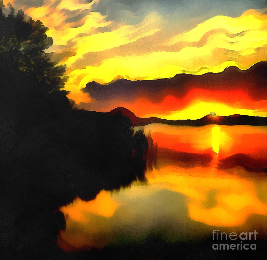 Colors At The Lake Painting  - Colors At The Lake Fine Art Print